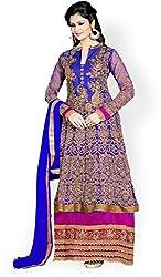 Shayona Enterprise Women's Brocade & Georgette Unstitched Dress Material (kimora-blue_Blue_Free Size)