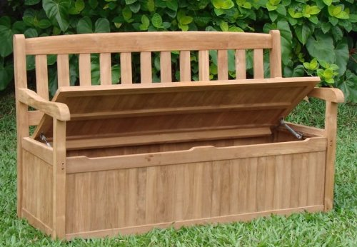 New 5 Feet Grade A Teak Wood Luxurious Outdoor Garden Bench with Storage Box- Devon Collection