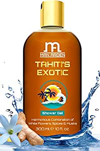 Man Arden Tahiti's Exotic Shower Gel - Rich Luxury Body Wash - 300 ml (White Flowers, Spices & Musk)