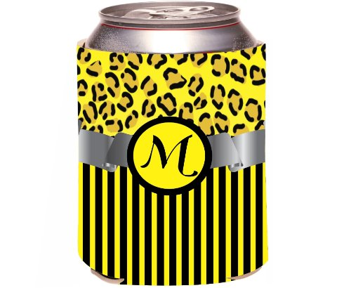 "Rikki Knight Beer Can Soda Drinks Cooler Koozie, Letter ""M"" Initial Monogrammed Design, Leopard Print And Stripes, Yellow front-641709"