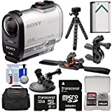 Sony Action Cam FDR-X1000V Wi-Fi 4K HD Video Camera Camcorder with 32GB Card + Helmet, Handlebar & Suction Cup Mounts + Battery + Case + Tripod + Kit