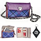 Purple Tartan with Bicast Leather Wristlet Wallet Cover Case + Chain Fits Nokia Asha 201 + NuVur Keychain (SUNISTU1)