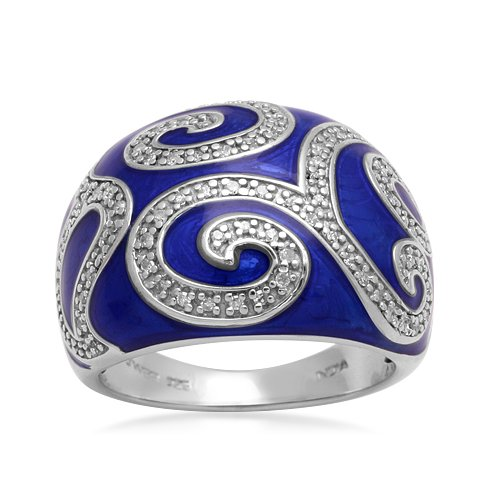 Sterling Silver Enamel Scroll Diamond Ring (1/4 cttw, I-J Color, I2-I3 Clarity), Size 5