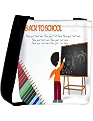 Snoogg Cute Boy Standing In Front Of Blackboard Womens Carry Around Cross Body Tote Handbag Sling Bags