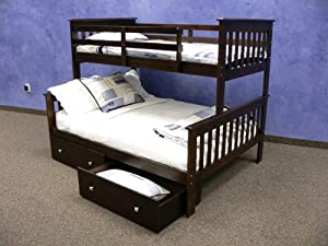 Twin over Full Mission Bunk Bed with Drawers in Cappuccino by DONCO