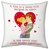 Valentine Gifts For Boyfriend Girlfriend Love Romantic Printed Cushion 12X12 Filled Pillow White Lovesick Kissing...