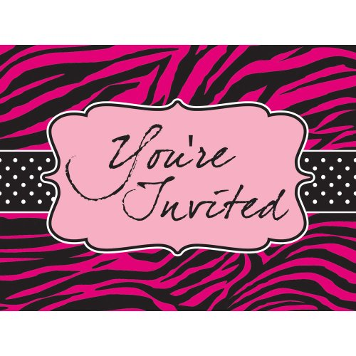 Creative Converting Pink Zebra Boutique Postcard Style Party Invitations, 8 Count