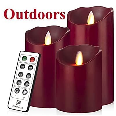 "Outdoor Indoor Candles Waterproof Battery Operated candles with Remote timer 12-H Flickering Flameless candles set of 3(4""5""6"")-Burgundy-Comenzar®"