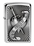 Zippo Unisex Adult Heart with Sword Emblem Windproof Pocket Lighter - Chrome