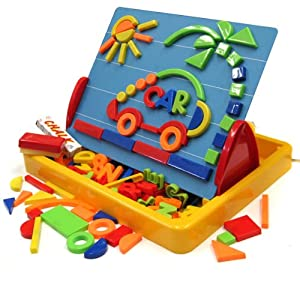 Megcos Kids Gift Shapes Letters Numbers Magnets & Board -Affordable Gift for your Little One! Item #LMID-1251