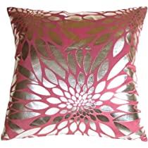 Pillow Decor - Metallic Floral Pink Square Decorative Throw Pillow