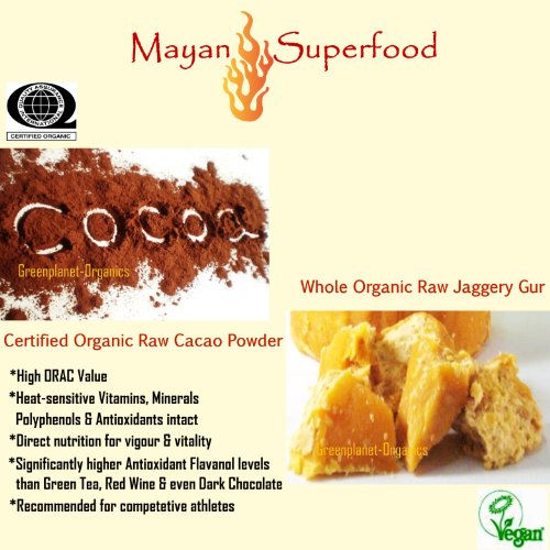Mayan Superfood: Whole & Organic Raw Cacao Powder & Unprocessed Gur Brown Sugar 2 Lbs Each (Healthier & Direct Nutrition For Competitive Athletes)