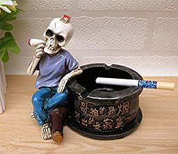 Lucky Beth Fashion Creative Resin Skull Ashtray Cigarette Cigar Smoking Ash Tray Home Decoration ,a Great Valentine\'s Day, Halloween, Christmas Gift for Your Boyfriend and Father