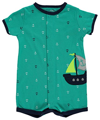 Carters Boys NB-24 Months Anchor Romper (Newborn) Embroidered Jersey Romper