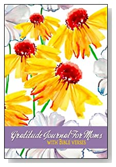 Gratitude Journal For Moms - With Bible Verses. Yellow and white flowers bring a little sunshine to the cover of this 5-minute gratitude journal for the busy mom.