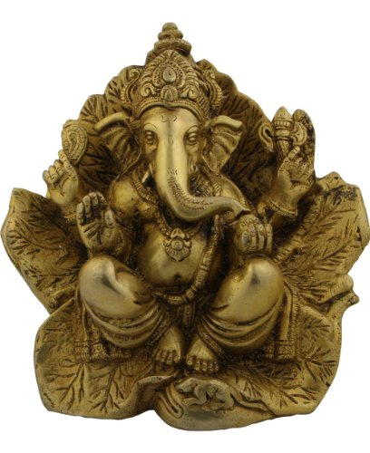 Ganesh Statue on Leaf Throne