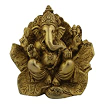 Brass Ganesh Statue on Leaf Throne