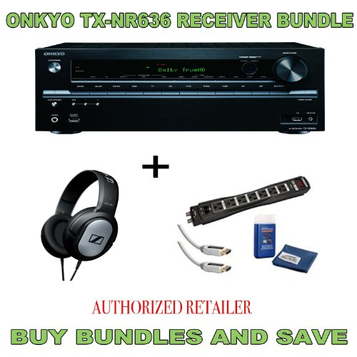 Onkyo Tx-Nr636 7.2-Channel A/V Receiver, Sennheiser Hd201 Headphones Plus Monster Surge Protector Hdmi Bundle