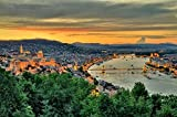 Panoramic View Of Budapest At Dusk Hungary Europe Art Poster 27