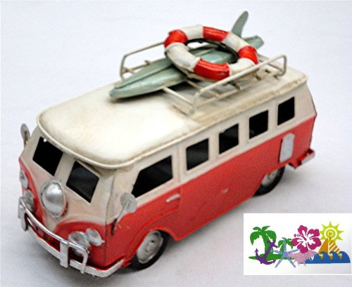 "Red Volkswagen Van with Surfboard and Life Ring on Roof Rack - Vw Woody Surfing - 6.5"" X 3.5"" X 2.5"" - Comes Packaged with a Credit Card Sized Tropical Magnet with Palm Tree, Starfish, Anchor and Sail"