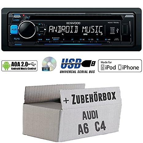 Audi A6 C4 - Kenwood KDC-100UB - CD/MP3/USB iPod/Android-Steuerung Autoradio - Einbauset