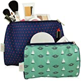 BlueAvocado XO(ECO) 2 Piece Cosmetic Pouch Kit, Red Micro Dot and Green Nautical