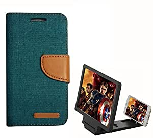 Aart Fancy Wallet Dairy Jeans Flip Case Cover for Micromax-Q372 (Green) + 3D SCREEN MAGNIFIER - HD VIDEO AMPLIFIER - with Stylish foldable holder stand by Aart Store.