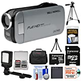 Bell & Howell Slice2 DV7HD 1080p HD Slim Video Camera Camcorder (Gray) with 32GB Card + Battery + Case + Tripods + LED Light + Kit