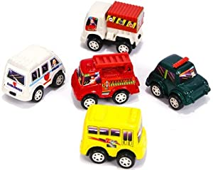 City Pull Back Vehicles - 12 Assorted Friction Cars - Ambulance, Fire Truck, School Bus, Garbage Truck, Police Car Racers - Just Pull Them Back and Watch Them Go!