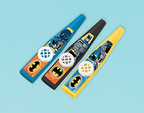 """Amscan Awesome Batman Kazoo Toy (3 Piece), Blue, 4 1/2 x 7/8"""" - 1"""