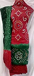 Shubh Women's Dress Material (5301CWRDGR_Red Green_Free Size)