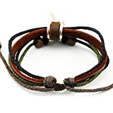 Real Spark Multicolor Rope Leather Wristband Wood Beads Prayer Wheel Wrap Bracelet