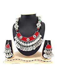 9blings Navratri Special Silver Oxized And Silver Coin Multi Beads Silver Necklace Set Rn73