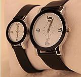 2本セットでこの価格 人気ペアウォッチ ユニセックス クォーツ時計 さりげなくカップルを演出 シンプルだからフォーマルなファッションにも合う (白盤大 & 白盤小)