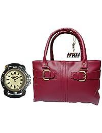 Arc HnH Women HandBag + Watch Combo - Buckle Pink Handbag + Sporty Black Watch