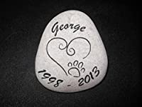 Sandblast Engraved River Stone Pet Memorial Headstone Grave Marker Dog Cat h med