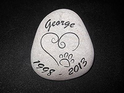 Sandblast Engraved River Stone Pet Memorial Headstone Grave Marker Dog Cat h med
