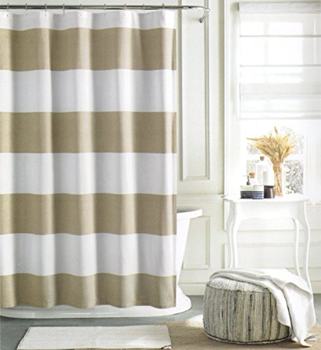 Tommy Hilfiger Cotton Shower Curtain Wide Stripes Fabric Shower Curtain  Beige Tan Cabana Stripe (Beige)