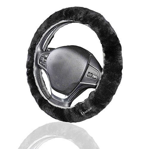Zento Deals Faux Sheepskin Stretch-On Vehicle Steering Wheel Cover Classic Black Car Wheel Protector (Italy Steering Wheel Cover compare prices)