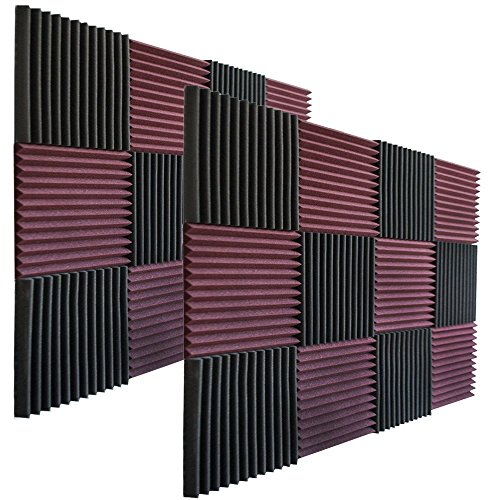 24-pack-burgundy-charcoal-acoustic-panels-studio-soundproofing-foam-wedges-1-x-12-x-12