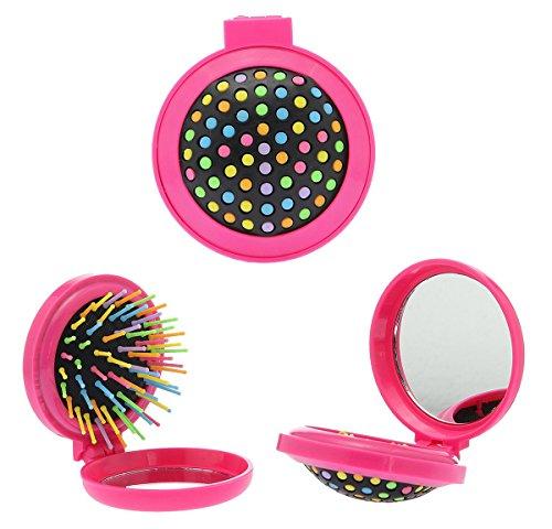 Arcobaleno Mini pieghevole pettine, spazzola di salute massaggio e bellezza con specchio