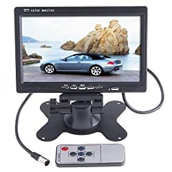 Afunta 7-Inch TFT Color LCD Car Rear View Camera Monitor Support Screen Rotating and 2 AV Inputs, Used with Car Rearview Cameras, Car DVD, Serveillance Camera, STB, Satellite Receiver and other Video Equipments