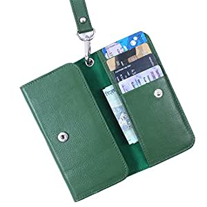 Dooda Genuine Leather Wallet Pouch Case For Micromax Bolt A082 (GREEN)