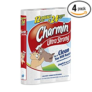 Charmin Ultra Strong Toilet Paper Double Rolls, 12-Count (Pack of 4)