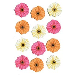 Pink Orange Cream Zinnia Stickers