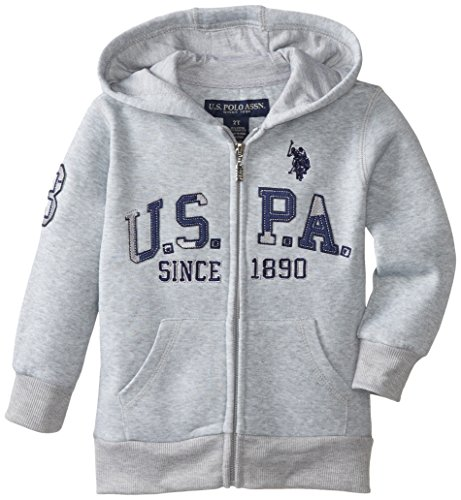U.S. Polo Assn. Little Boys' Boys Sherpa Lined Zip Front Fleece Hoodie, Light Heather Gray, 5/6