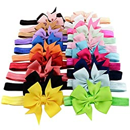 Qandsweet Baby Girl Headbands and Fishtail Bows (3\