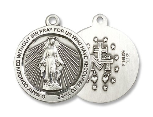 Sterling Silver Miraculous Medal Mother of God St. Mary Medal Pendant with 24