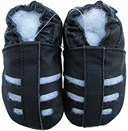 Carozoo baby boy soft sole leather infant toddler kids shoes Sandals Black 4-5y