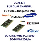 4GB 2 x 2GB Dual Kit 4096MB 200 pin DDR2-667 SO-DIMM Notebook Speicher Ram (667Mhz, PC2- 667) double sided, TOP MARKEN - JE NACH VERFÜGBARKEIT - TOP PREIS - 100% kompatibel zu DDR-533 PC-4200